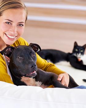 Frau sitzt mit Hund im Arm und Katze im Hintergrund